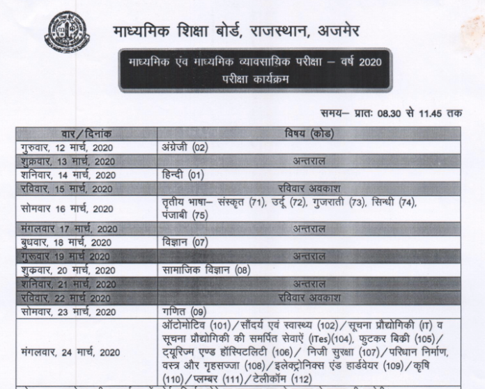 RBSE Exam Time Table 2021
